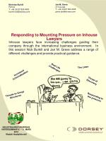 Responding to Mounting Pressure on Inhouse Lawyers