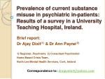 Prevalence of current substance misuse in psychiatric in-patients: Results of a survey in a University Teaching Hospital
