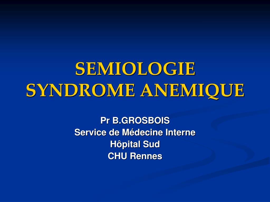 semiologie syndrome anemique l.