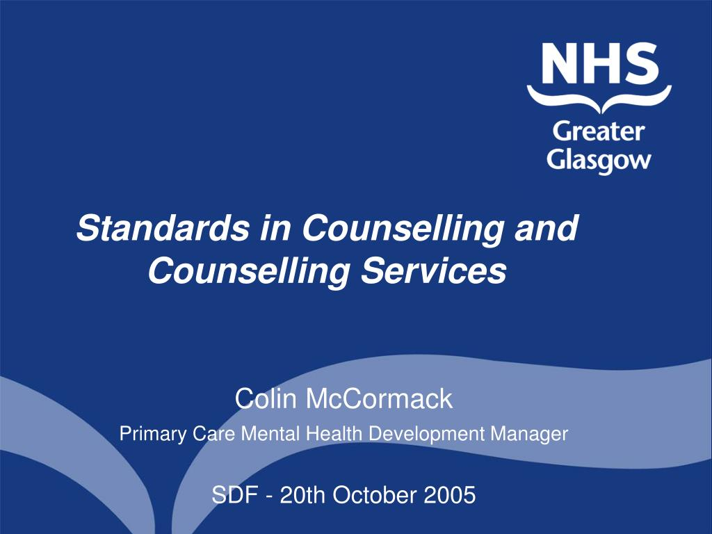 standards in counselling and counselling services l.