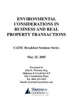 ENVIRONMENTAL CONSIDERATIONS IN BUSINESS AND REAL PROPERTY TRANSACTIONS