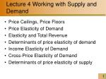 Lecture 4 Working with Supply and Demand