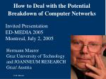 How to Deal with the Potential Breakdown of Computer Networks