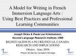 A Model for Writing in French Immersion Language Arts:  Using Best Practices and Professional Learning Communities