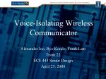 Voice-Isolating Wireless Communicator