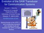 Evolution of the SAW Transducer for Communication Systems