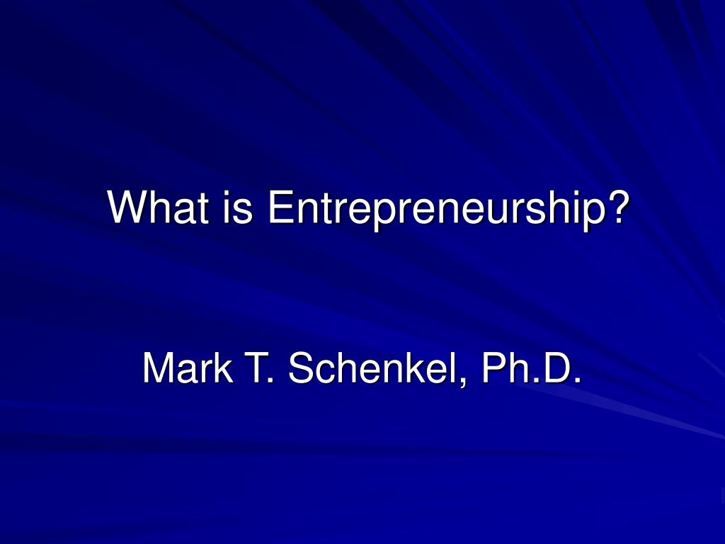 what is entrepreneurship l.
