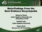 Meta-Findings From the  Best Evidence Encyclopedia