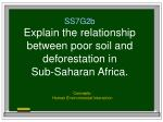 SS7G2b Explain the relationship between poor soil and deforestation in  Sub-Saharan Africa.