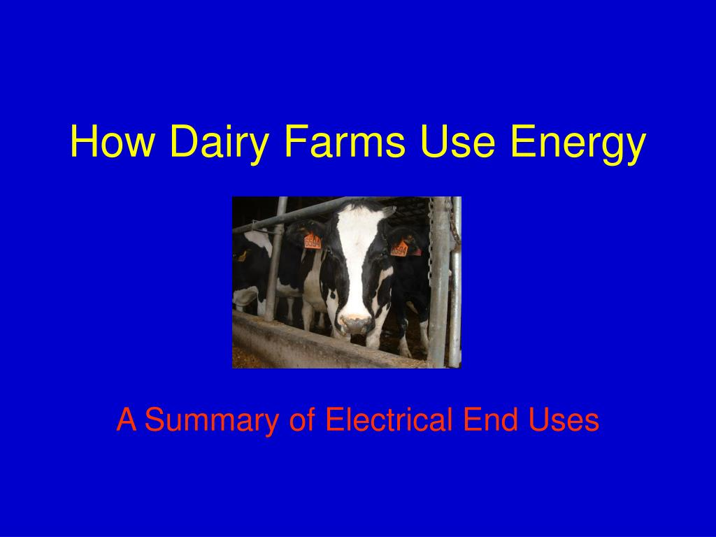 how dairy farms use energy l.