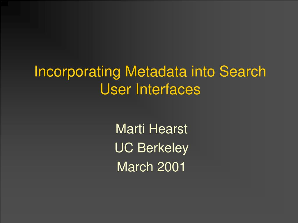 incorporating metadata into search user interfaces l.