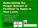 Determining the Proper Amount of Fertilizer to Apply to Your Lawn.