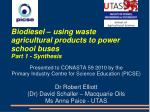 Biodiesel – using waste agricultural products to power school buses Part 1 - Synthesis