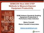 SEMICON West 2006 STEP Methods to Measure/Improve Equipment Productivity