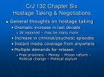 CrJ 132 Chapter Six Hostage Taking & Negotiations
