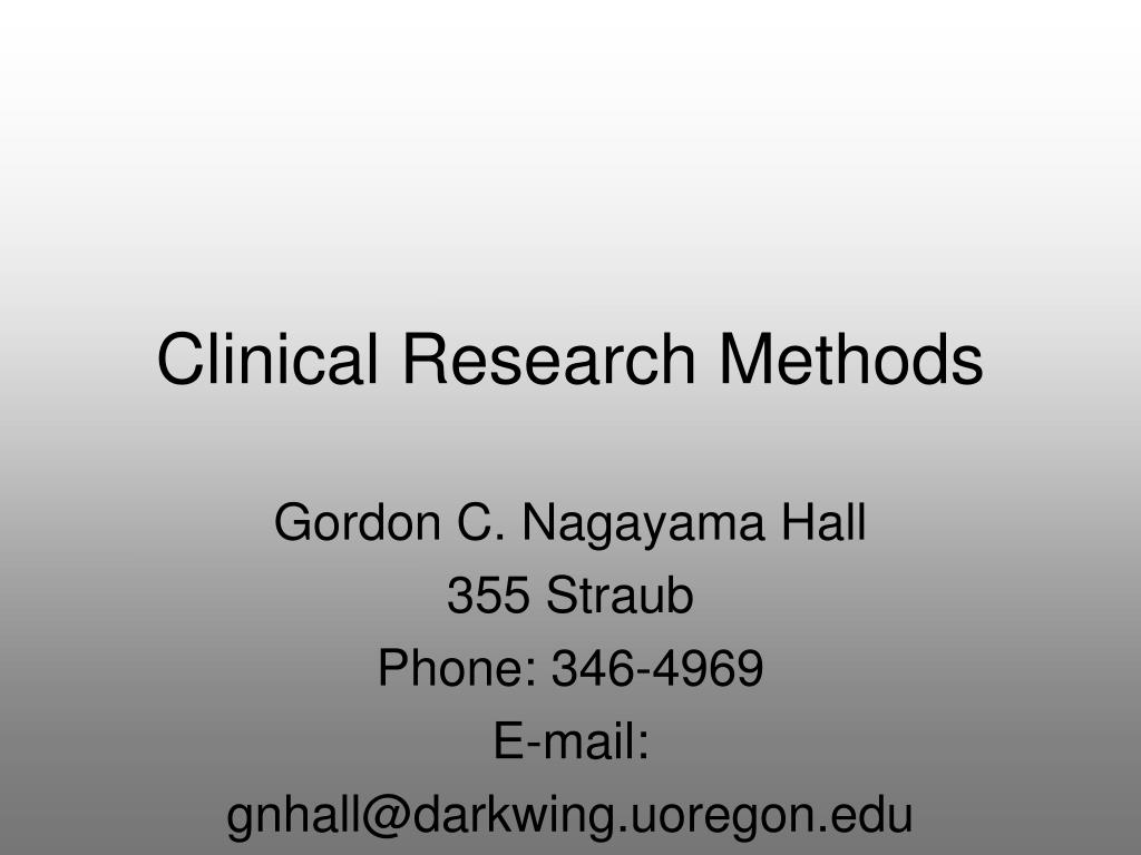 clinical research methods l.