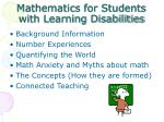 Mathematics for Students with Learning Disabilities