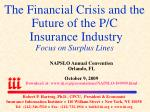 The Financial Crisis and the Future of the P/C Insurance Industry Focus on Surplus Lines