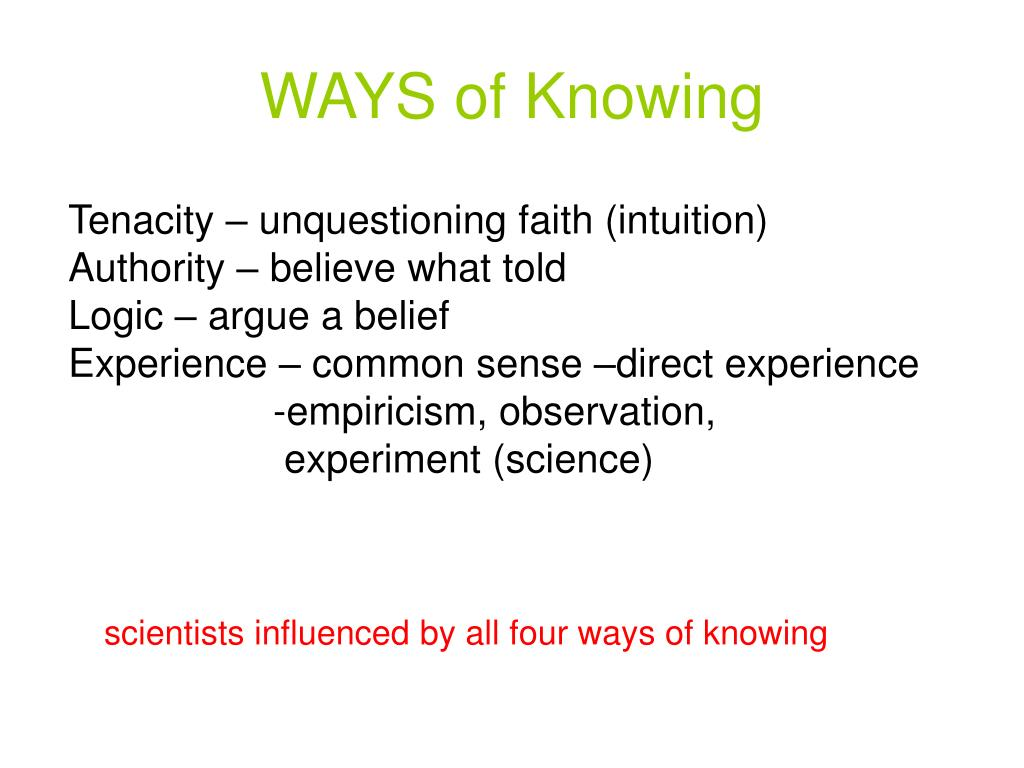 ways of knowing l.