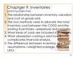 Chaptger 9: Inventories Learning objectives