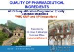 QUALITY OF PHARMACEUTICAL INGREDIENTS