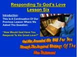 Responding To God's Love Lesson Six
