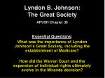 Lyndon B. Johnson:  The Great Society APUSH Chapter 38