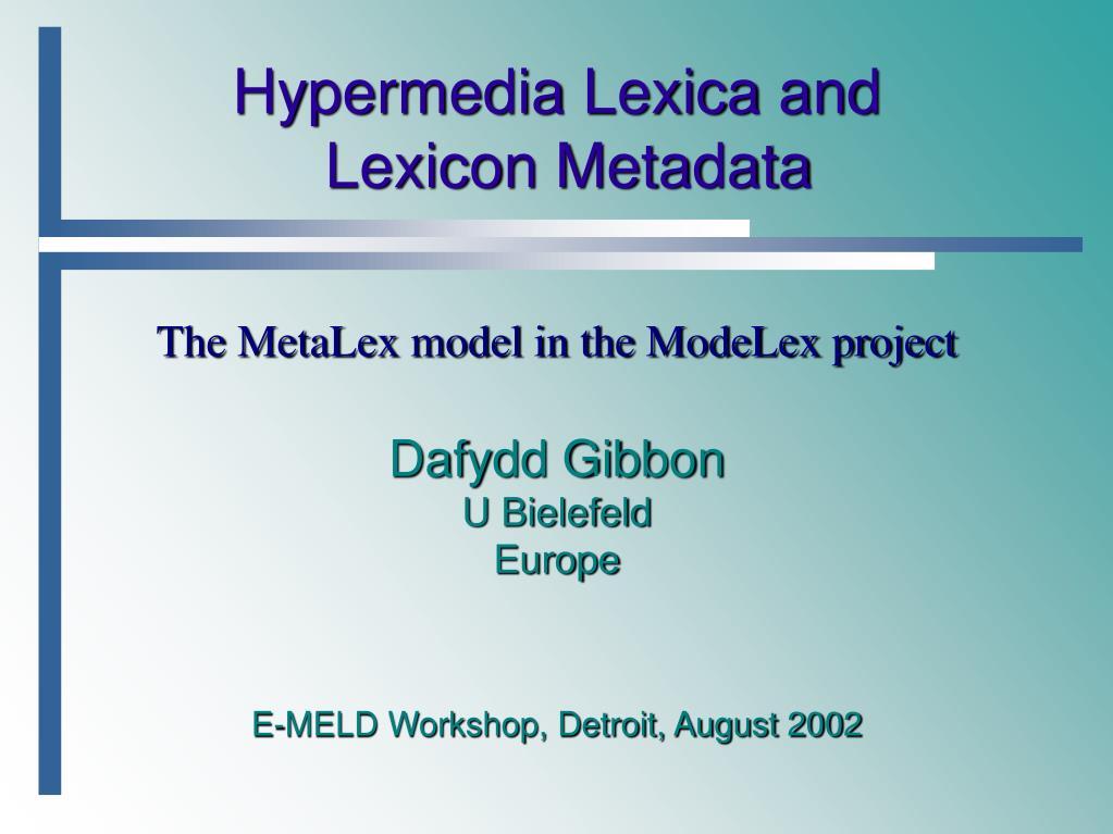 PPT - Hypermedia Lexica and Lexicon Metadata PowerPoint Presentation