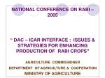 """NATIONAL CONFERENCE ON RABI – 2005 """" DAC – ICAR INTERFACE : ISSUES & STRATEGIES FOR ENHANCING PRODUCTION OF RABI"""