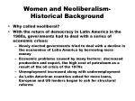 Women and Neoliberalism-Historical Background