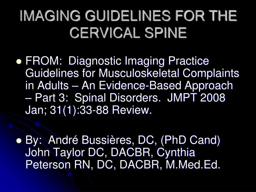imaging guidelines for the cervical spine l.