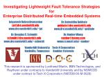 Investigating Lightweight Fault Tolerance Strategies for  Enterprise Distributed Real-time Embedded Systems