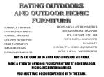 EATING OUTDOORS AND OUTDOOR PICNIC FURNITURE