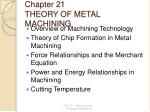 Chapter 21 THEORY OF METAL MACHINING