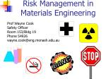Risk Management in Materials Engineering