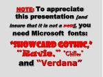 """NOTE : To appreciate this presentation [and insure that it is not a mess ], you need Microsoft fonts: """"Showcard Got"""