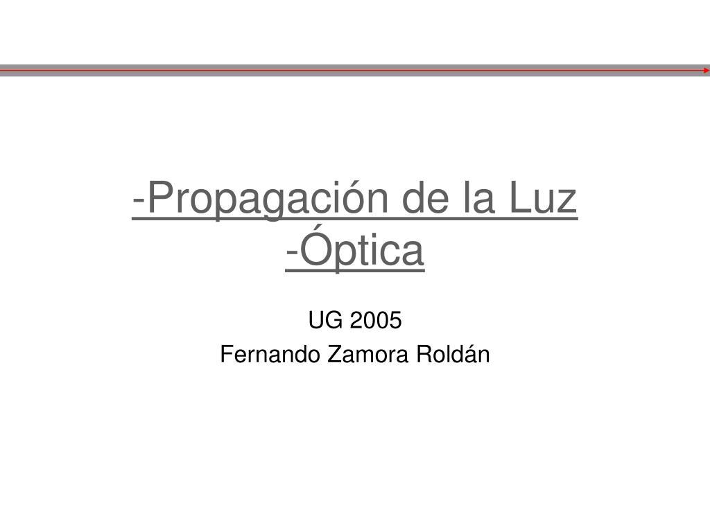 6a64b25eb2 PPT - -Propagación de la Luz -Óptica PowerPoint Presentation - ID:729159