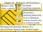 Chapter 25 – Phylogeny and Systematics