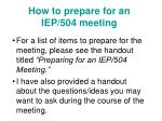 How to prepare for an IEP/504 meeting