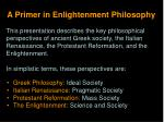 A Primer in Enlightenment Philosophy