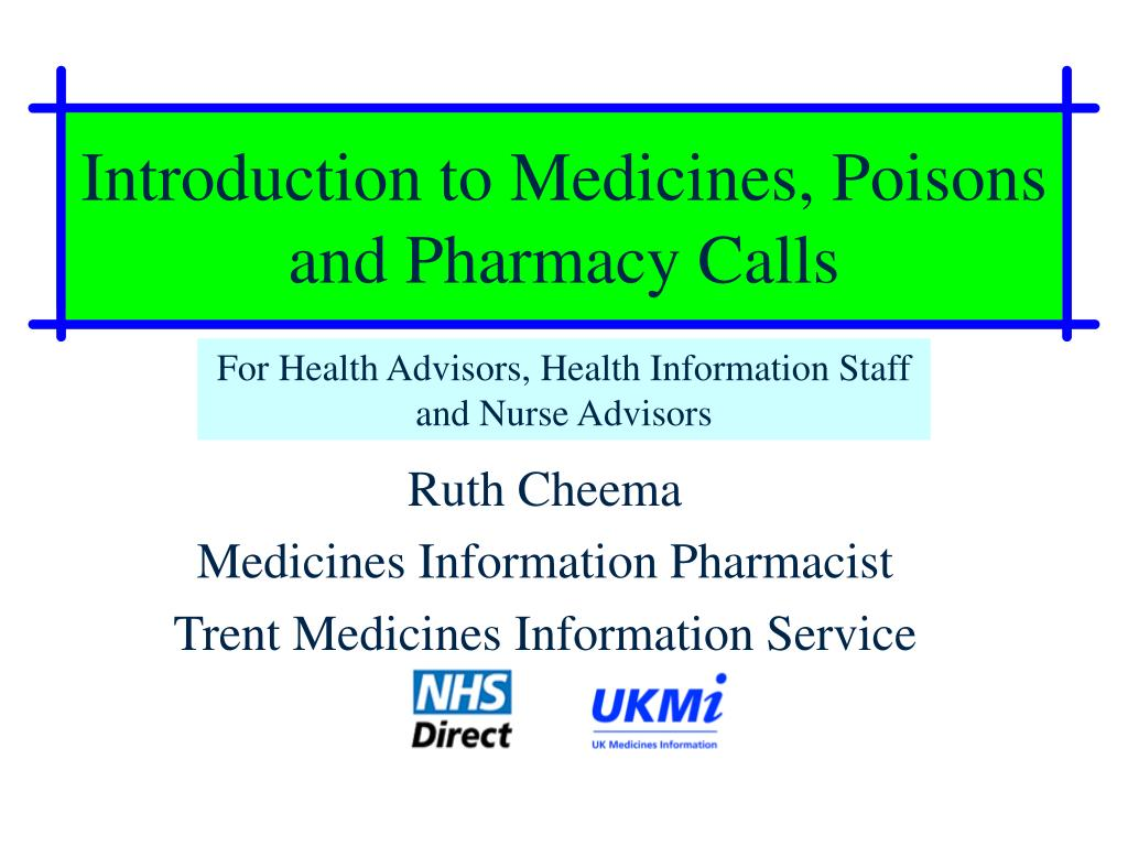 introduction to medicines poisons and pharmacy calls l.