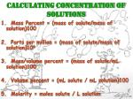 CALCULATING CONCENTRATION OF SOLUTIONS