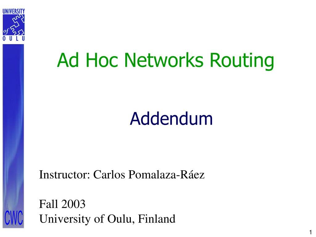 ad hoc networks routing l.