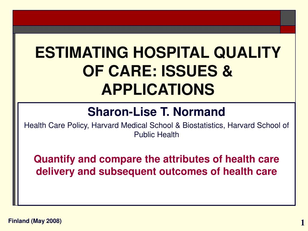 estimating hospital quality of care issues applications l.