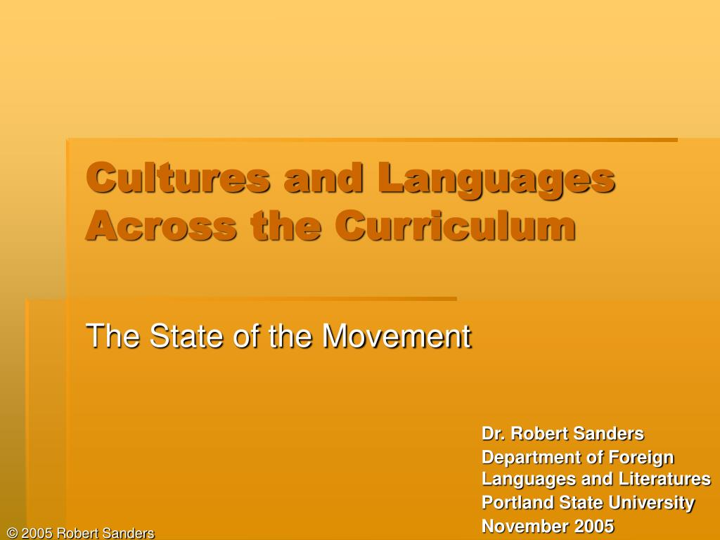 cultures and languages across the curriculum l.