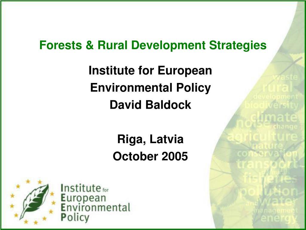 Forests & Rural Development Strategies