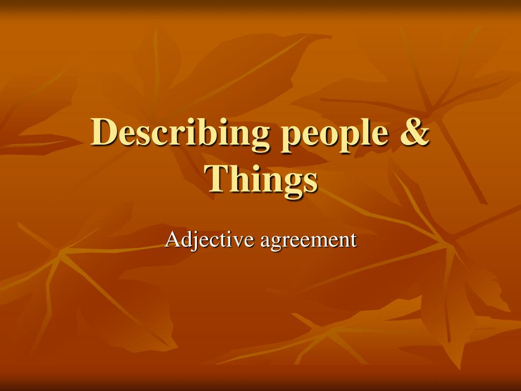 describing people things l.