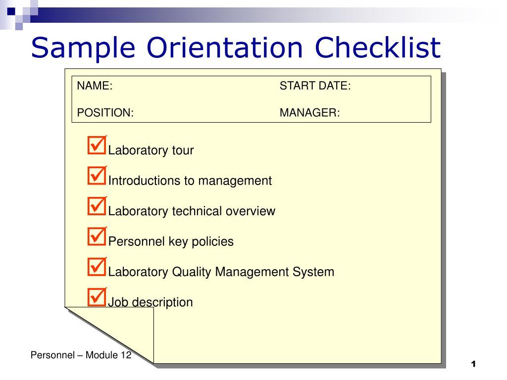 sample orientation checklist l.