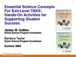 Essential Science Concepts For Exit-Level TAKS: Hands-On Activities for Supporting Student Success James W. Collins Se