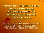Serving on a Regulatory Board Versus a Professional Organization Board…the Perspective of a Nurse In Clinical Practice
